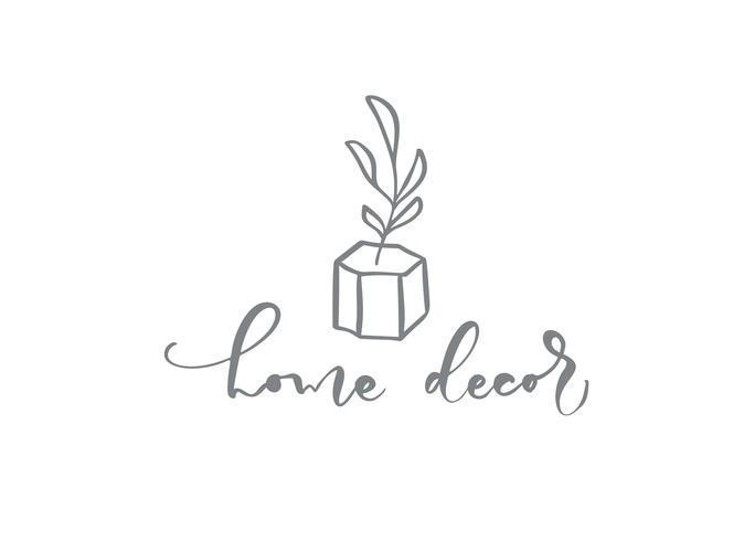 Home Decor Texte calligraphique. Vecteur dessiné à la main floral floral scandinave tendance.