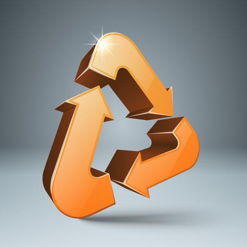 Recycler l'icône 3d. Produit respectueux de l'environnement. vecteur