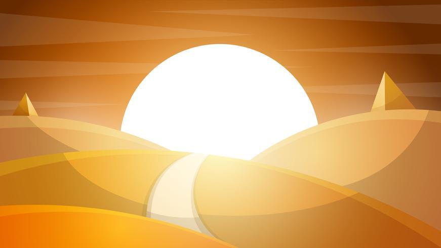 Paysage désertique. Pyramide et soleil. vecteur