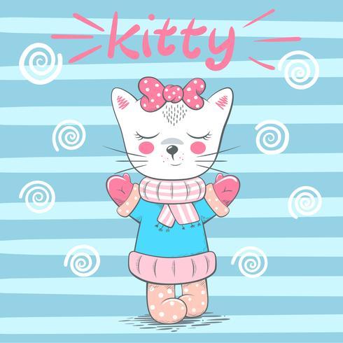 Illustration de chat mignon, jolie amour. vecteur