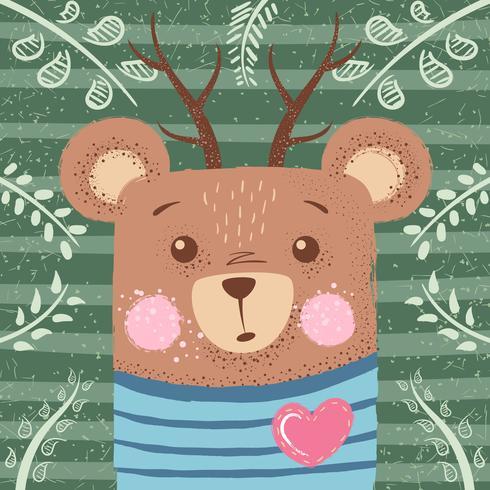 Illustration mignonne d'hiver. Personnages d'ours. vecteur