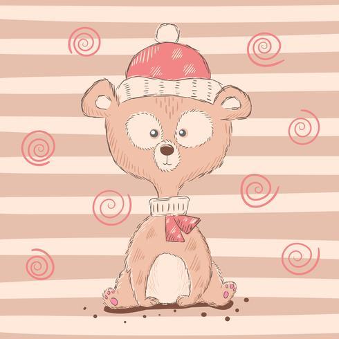 Personnages mignons et drôles d'ours de dessin animé. vecteur