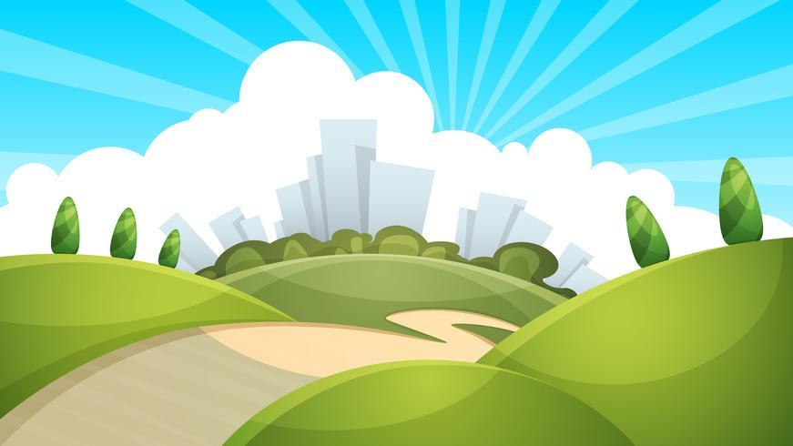 Paysage, ville, nuage, soleil vecteur
