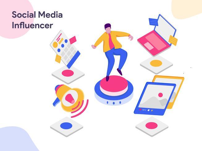Illustration isométrique des médias sociaux influente. Style design plat moderne pour site Web et site Web mobile. Illustration vectorielle vecteur
