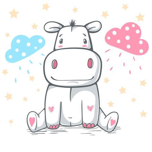 Teddy Behemoth, hippo - personnages de dessins animés. vecteur