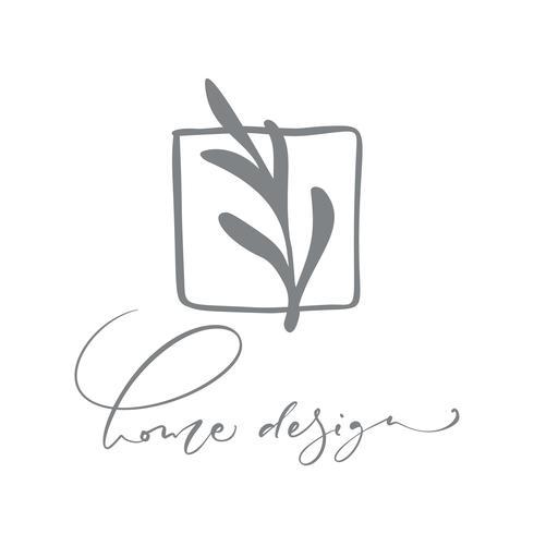 Home Design text Logo. Vecteur dessiné à la main floral floral scandinave tendance.