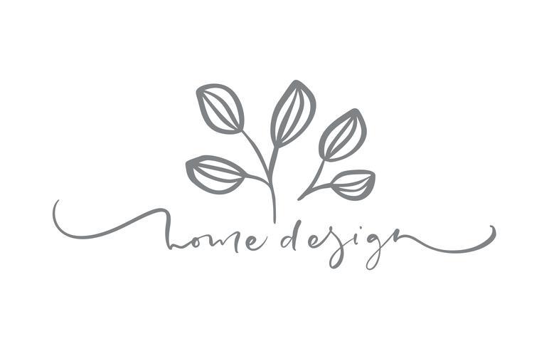 Home Design text. Vecteur dessiné à la main floral floral scandinave tendance.
