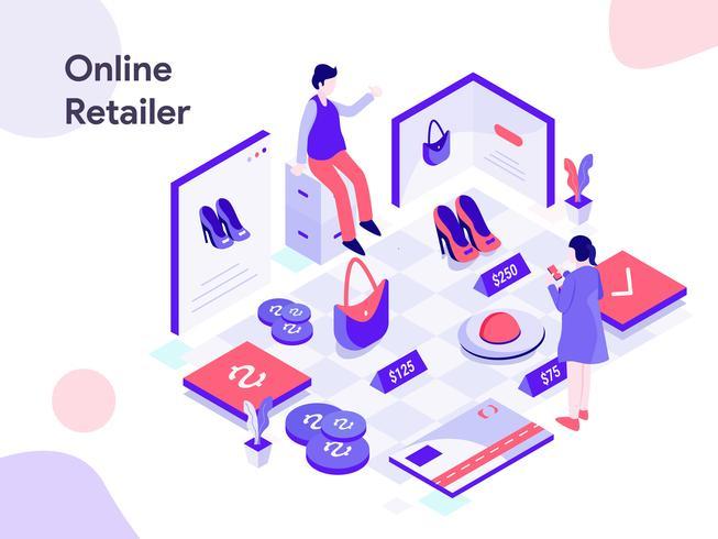 Illustration isométrique de détaillant en ligne. Style design plat moderne pour site Web et site Web mobile. Illustration vectorielle vecteur