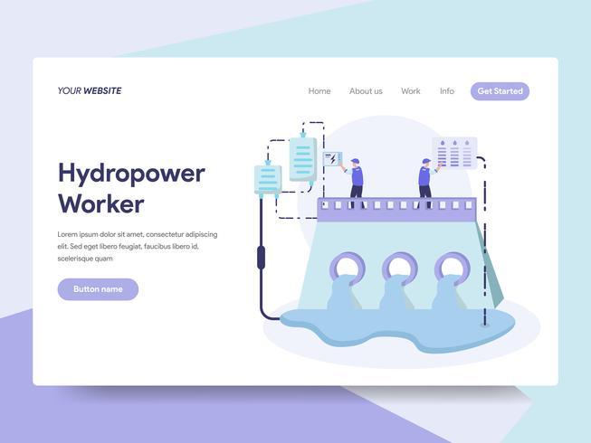 Modèle de page d'atterrissage de l'hydroélectricité énergie Illustration Concept. Concept de design plat isométrique de la conception de pages Web pour site Web et site Web mobile. Illustration vectorielle vecteur
