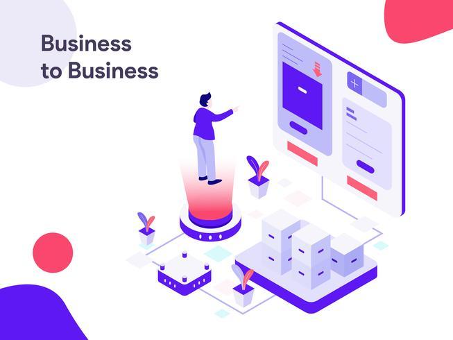 Illustration d'isométrique d'entreprise à entreprise. Style design plat moderne pour site Web et site Web mobile. Illustration vectorielle vecteur