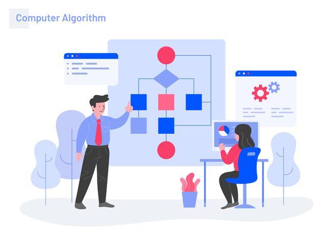 Concept d'illustration d'algorithme informatique. Concept de design plat moderne de conception de page Web pour site Web et site Web mobile. Illustration vectorielle vecteur