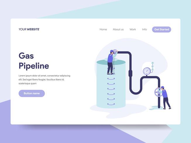 Modèle de page d'atterrissage de gaz Illustration de pipeline Concept. Concept de design plat isométrique de la conception de pages Web pour site Web et site Web mobile. Illustration vectorielle vecteur