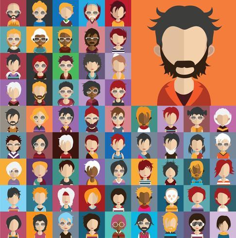 Collection d'avatars de divers personnages masculins et féminins vecteur