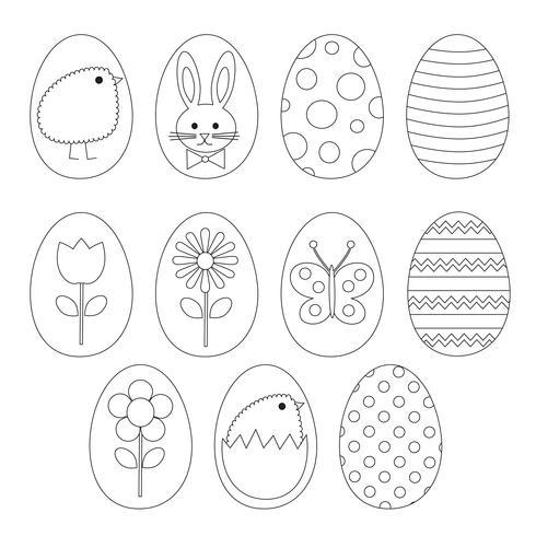Clipart de timbres numériques oeuf de Pâques vecteur