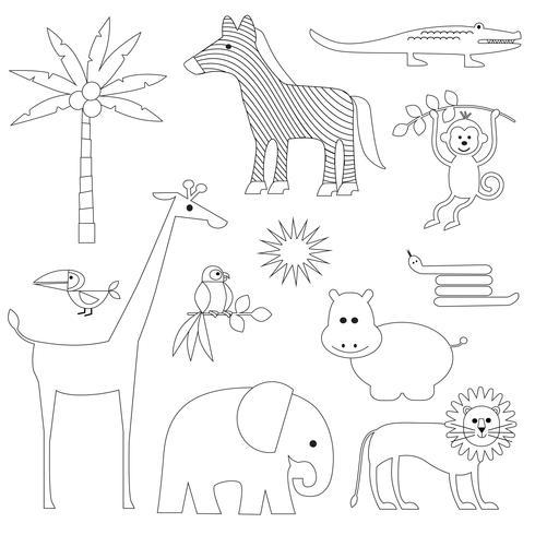 Animaux de la jungle Clipart de timbres numériques vecteur