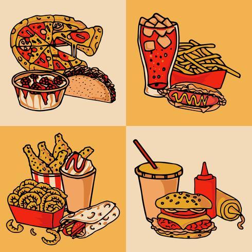 Concept de menu de restauration rapide plat vecteur