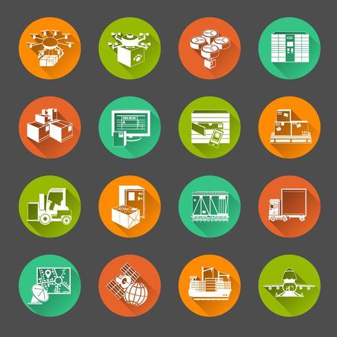 Nouveau jeu d'icônes de cercle plat logistique vecteur