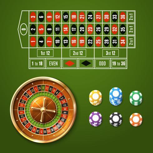 Set de roulette européenne vecteur