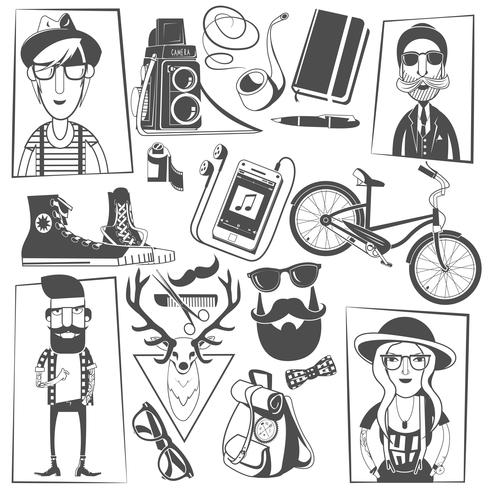 Composition d'icônes noires hipster imprimer vecteur