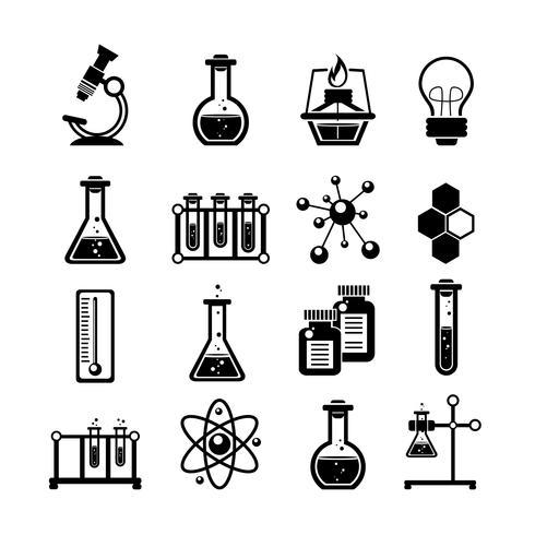 Icônes de chimie mis en noir vecteur
