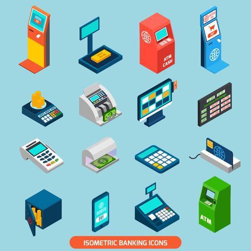 jeu d'icônes bancaires isométriques vecteur