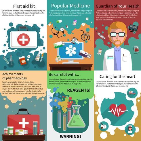 Ensemble de mini-affiches de médicaments multicolores vecteur