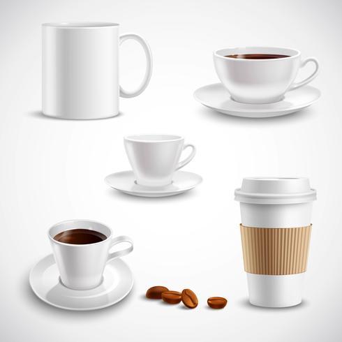 Set de café réaliste vecteur
