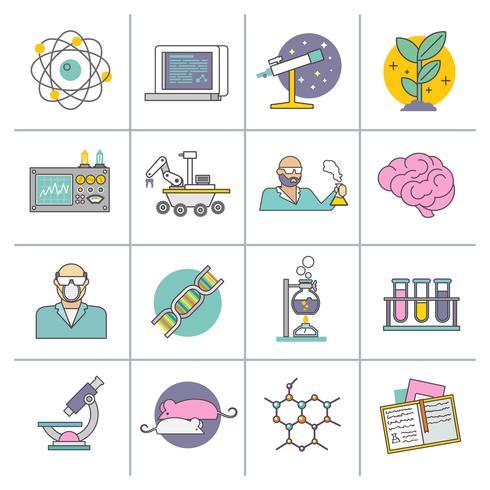 Science et recherche ligne plate vecteur