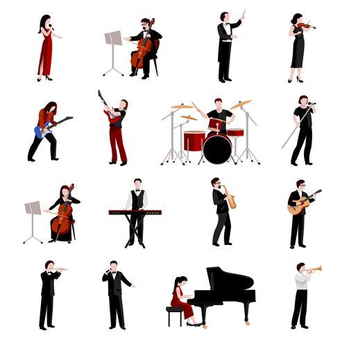 Musiciens Icons Set vecteur