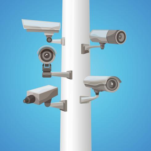 Caméra de surveillance sur pilier vecteur