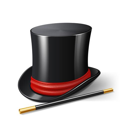 Chapeau de magicien réaliste vecteur