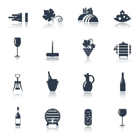 Vin noir jeu d'icônes vecteur