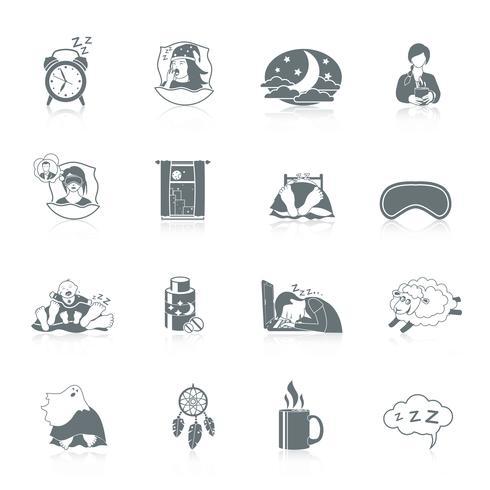 jeu d'icônes de temps de sommeil vecteur