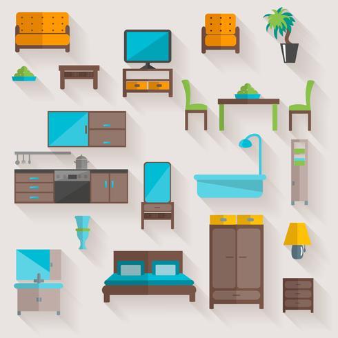 Ensemble d'icônes plat maison meubles vecteur
