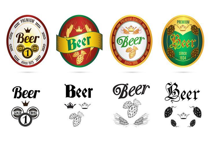 Jeu d'icônes de marques de bière marques populaires vecteur