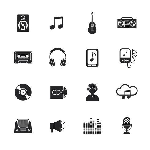 Icônes de la musique mis mobile noir vecteur