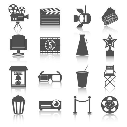 ensemble d'icônes de divertissement de cinéma vecteur