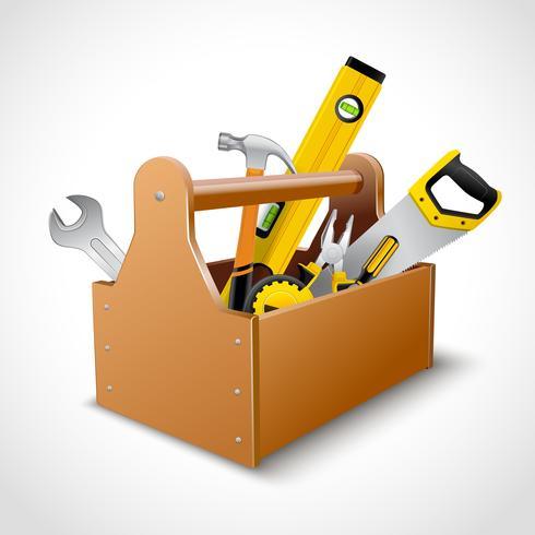 Affiche de la boîte à outils charpentier vecteur