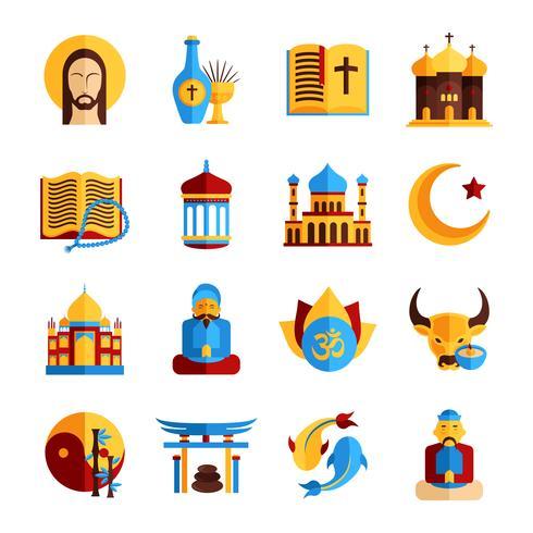 jeu d'icônes de religion vecteur