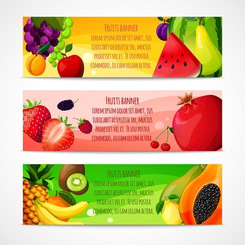 Fruits bannières horizontales vecteur