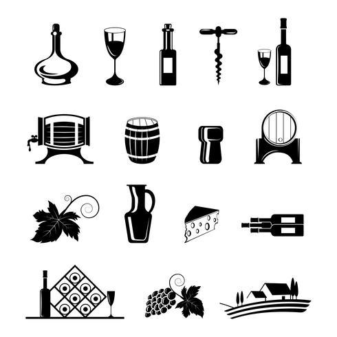 Vin Icons Set vecteur