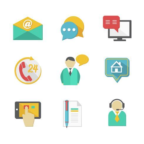 Éléments de conception des contacts du service d'assistance clientèle vecteur