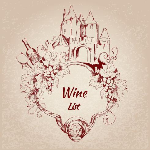 Étiquette de la carte des vins vecteur
