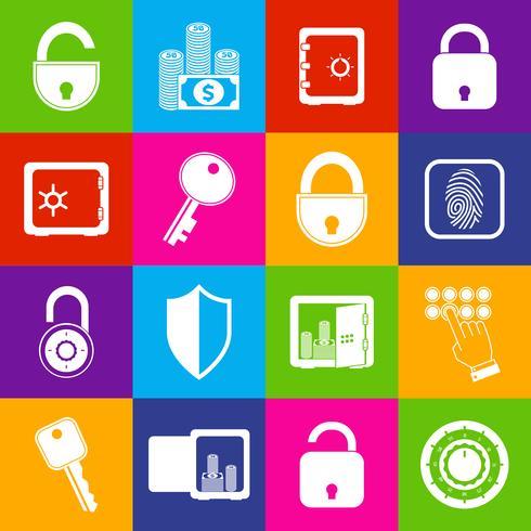 Verrouiller les icônes sûres vecteur