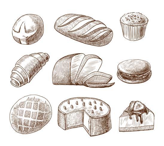 Jeu d'icônes décoratives pâtisserie et pain vecteur