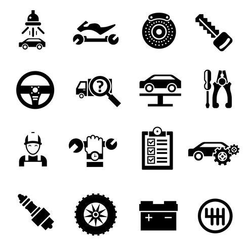 Icônes de réparation de voiture noir vecteur