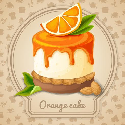 Emblème de gâteau orange vecteur