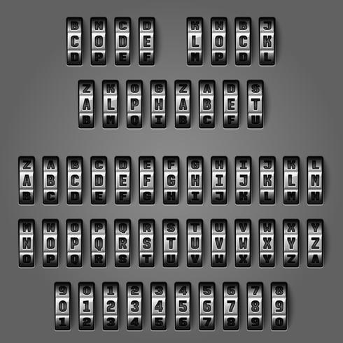 Alphabet mécanique pour codes de combinaison vecteur