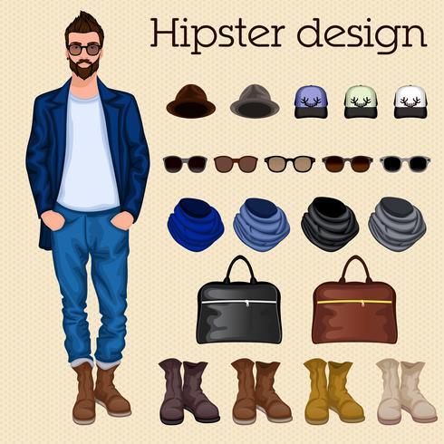 Éléments de gars hipster vecteur