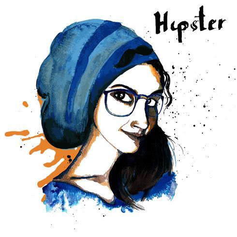 Hipster fille encre vecteur